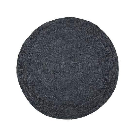 rond jute vloerkleed zwart